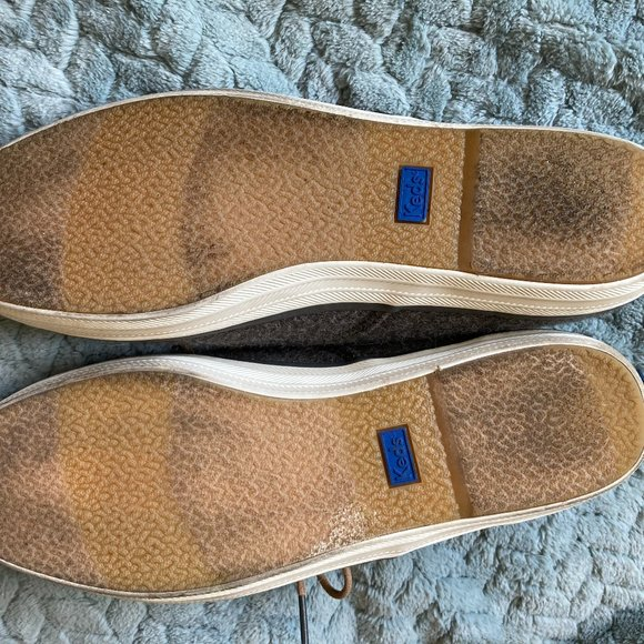Grey flannel Keds with leather laces size 8.5